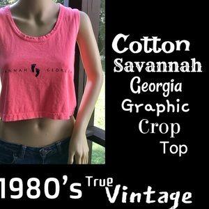 🆕VTG▪️1980's Cotton Savannah GA Graphic Crop Top